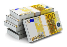 Stacks of 200 Euro banknotes. Creative abstract banking, money making and business success financial concept: heap of stacks of 200 Euro banknotes isolated on Royalty Free Stock Image