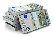 Stacks of 5 Euro banknotes Stock Images