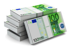 Stacks of 100 Euro banknotes. Creative abstract banking, money making and business success financial concept: heap of stacks of 100 Euro banknotes isolated on Stock Illustration