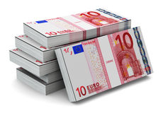 Stacks of 10 Euro banknotes. Creative abstract banking, money making and business success financial concept: heap of stacks of 10 Euro banknotes isolated on Royalty Free Illustration