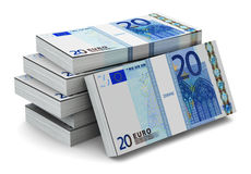 Stacks of 20 Euro banknotes. Creative abstract banking, money making and business success financial concept: heap of stacks of 20 Euro banknotes isolated on Royalty Free Stock Images