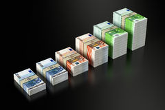 Stacks of Euro banknotes. 3D rendering of Euro banknotes on black glossy surface Stock Illustration