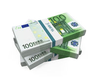 Stacks of 100 Euro Banknotes Stock Image
