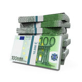 Stacks of 100 Euro Banknotes Royalty Free Stock Images