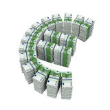 Stacks of 100 Euro Banknotes. Isolated on white background. 3D render Royalty Free Stock Photography