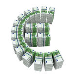 Stacks of 100 Euro Banknotes. Isolated on white background. 3D render Stock Photography
