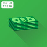 Stacks of euro cash icon. Business concept dollar money pictogra Royalty Free Stock Photography
