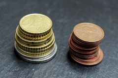 Stacks of euro coins. Image of two stacks of euro coins on the hard ground Stock Image