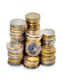 Stacks of Euro coins Royalty Free Stock Image