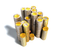 Stacks of euro coins. 3d stacks of euro coins isolated on white Royalty Free Stock Photos