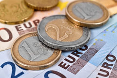 Stacks of euro coins Stock Image