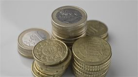 Stacks euro coins stock footage