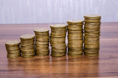 Stacks of euro golden coins Stock Photos