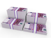 Stacks of Euro notes. 3D render of stacks of 500 Euro currency notes on white background Stock Photo