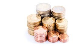 Stacks of European coins Stock Photo