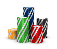 Stacks of fiches. Stacks of colored fiches on a white background (3d render Stock Image