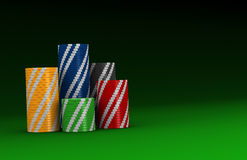 Stacks of fiches. Stacks of colored fiches on a green table (3d render Stock Photography