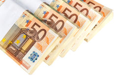 Stacks of fifty euro banknotes Royalty Free Stock Images