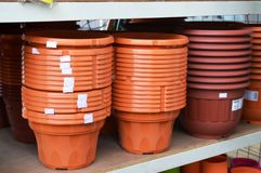 Stacks of flowerpots Royalty Free Stock Images