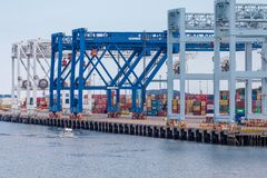 Stacks of Freight in Boston Harbor Stock Images