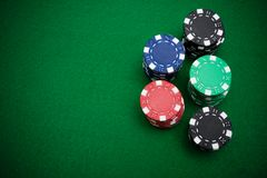 Stacks of gambling chips stock images