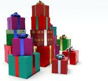 Stacks of gift boxes. Royalty Free Stock Photo