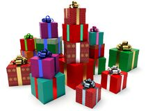 Stacks of gift boxes. Stock Photos