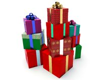 Stacks of gift boxes. Stock Photo