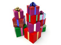 Stacks of gift boxes. Royalty Free Stock Images