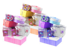 Stacks of Gift Parcels. On White Background Stock Photo