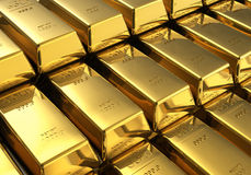 Stacks of gold bars Royalty Free Stock Images
