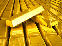 Stacks of gold bars Royalty Free Stock Photography
