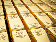 Stacks of gold bars close up Royalty Free Stock Photos
