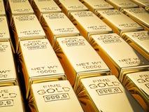 Stacks of gold bars close up Royalty Free Stock Photos
