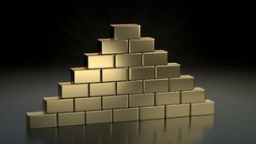 Stacks of gold bars. 3D render. Royalty Free Stock Photo