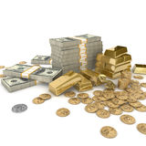 Stacks of gold bars and money Royalty Free Stock Images