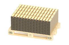 Stacks of gold bars on pallet Stock Image