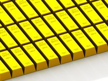 Stacks of gold bars on the white Stock Images