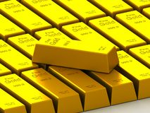 Stacks of gold bars on the white Royalty Free Stock Photos