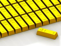 Stacks of gold bars on the white Stock Image