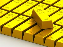 Stacks of gold bars on the white Stock Photos