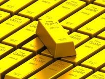 Stacks of gold bars on the white Stock Photography