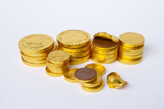 Stacks of Gold Chocolate Coins Stock Photos