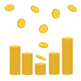 Stacks of gold coin icon flying falling down. Diagram shape. Dollar sign symbol. Cash money. Going up graph. Income and profits. G. Rowing business concept Royalty Free Stock Photography