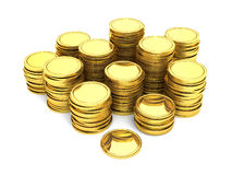 Stacks of gold coins stock illustration