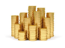 Stacks of gold coins. Royalty Free Stock Photos