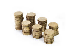 Stacks of Gold Coins. Stacks of Singapore $1 Coins Royalty Free Stock Photo