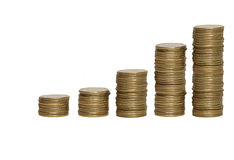 Stacks of gold coins. Gold coins on a white background Royalty Free Stock Photo