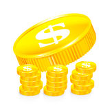 Stacks of gold coins Stock Image