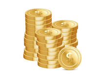 Stacks of gold coins and dollar signs Stock Images